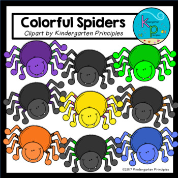 Colorful Spiders Clipart