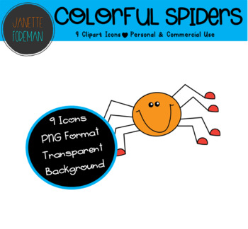Colorful Spiders Clipart | Autumn and Halloween Clipart