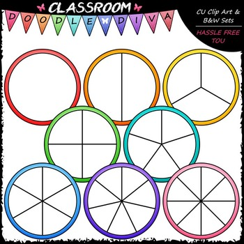 Colorful Spinners Clip Art (64 Colored) - Games Clip Art & B&W Set