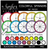 Colorful Spinners Clipart {A Hughes Design}
