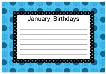 Colorful Spotty Class Birthday Posters Months Of The Year