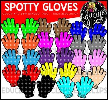 Colorful Spotty Gloves Clip Art Bundle {Educlips Clipart}
