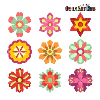 Colorful Spring Flowers Clip Art - Great for Art Class Projects!