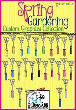 Colorful Spring Garden Hand Rakes Clip Art / Graphics