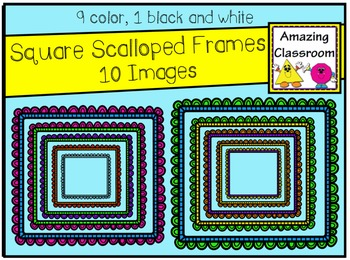 Colorful Square Scalloped Frames Clip Art