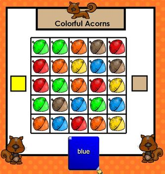 Colorful Squirrel Word Games:  SMARTBOARD Color Word Games