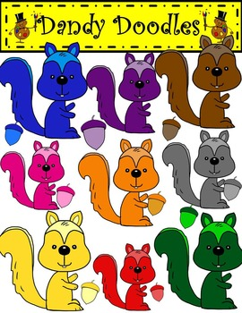 Colorful Squirrels Clip Art by Dandy Doodles