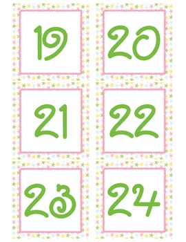 Colorful Star Calendar Numbers
