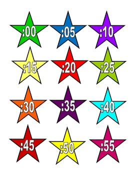 Colorful Star Clock Labels