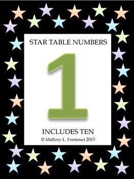 Colorful Star Table Numbers