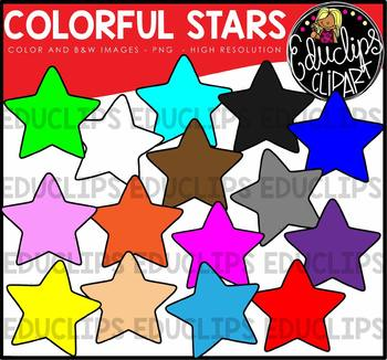 Colorful Stars Clip Art Bundle {Educlips Clipart}