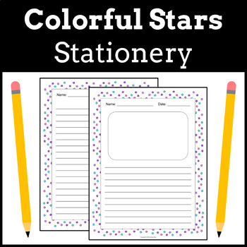 Stationery Writing Paper   Colorful Stars