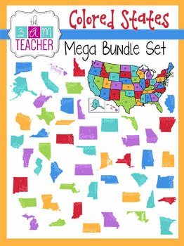 Colorful States & US Maps: Mega Bundle Clip Art Set