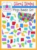 Colorful States & US Maps: Mega Bundle Clip Art Set