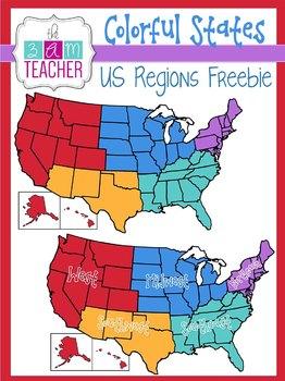 Colorful States: US Regions Freebie