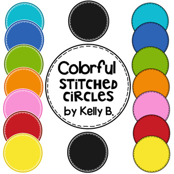 Colorful Stitched Headers, Circles, Ribbons, Bunting, and Ovals