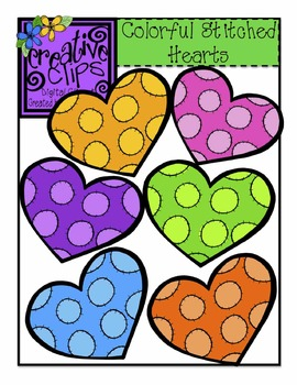 Colorful Stitched Hearts {Creative Clips Digital Clipart}