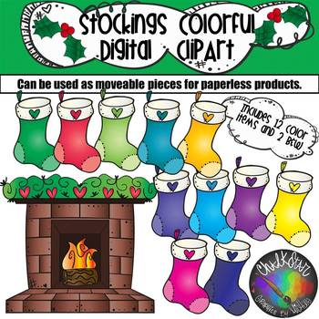 Colorful Stockings and Fireplace Moveable PNG Graphics