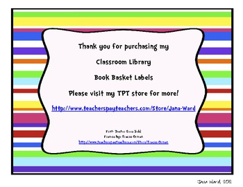 Colorful Stripe Classroom Library Book Basket Labels