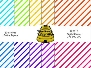 Colorful Stripe Papers {10 backgrounds for personal & commercial use}