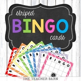 Colorful Striped Bingo Cards (Blank Template)
