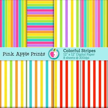 Colorful Stripes: Digital Paper Texture Set