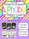 Colorful Stripes Alphabet Posters Lined