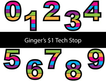 Colorful Stripes! * Bulletin Board Letters * Numbers * 0123456789