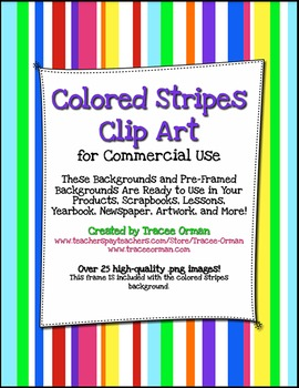 Colorful Stripes Frames Borders Background Clip Art By