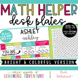 Colorful Student Desk Plates with Upper Grade Math Helpers