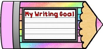 Colorful Student Writing Goal Pencils & Class Focus Pencils- Poster Displays