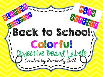 Colorful Subject Objective Bulletin Board Labels