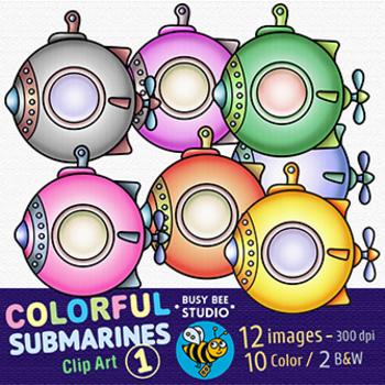 Colorful Submarines Clip Art