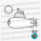 Colorful Submarines Clip Art Set 2