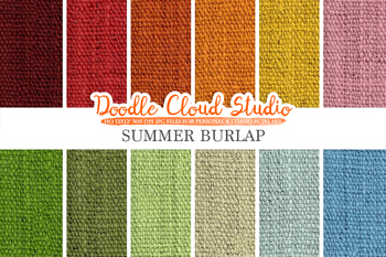 Colorful Summer Burlap Fabric digital paper pack, Colorful Bright Sunny