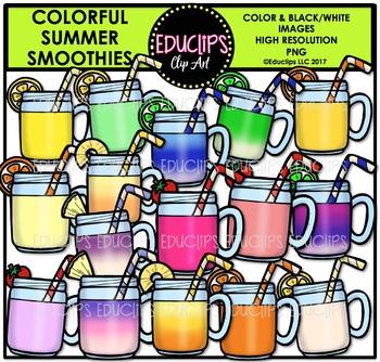 Colorful Summer Smoothies Clip Art Bundle {Educlips Clipart}