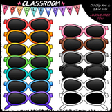 Colorful Sunglasses Clip Art & B&W Set