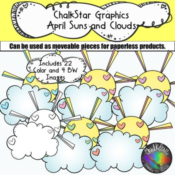 Colorful Suns and Clouds Clip Art –Chalkstar Graphics