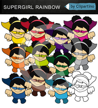 Colorful Supergirls Clipart (flying)