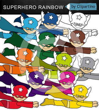 Colorful Superhero Clipart (flying)
