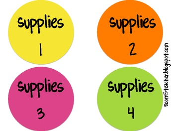 Colorful Supply Bin Labels