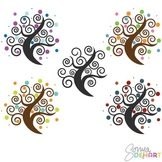 Clipart - Spiral Polkadot Trees Clip Art Set
