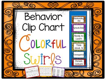 Colorful Swirls Behavior Clip Chart