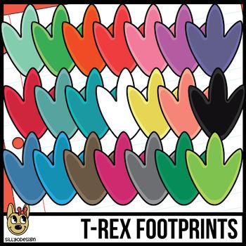 Colorful T-Rex Dinosaur Footprints Clip art