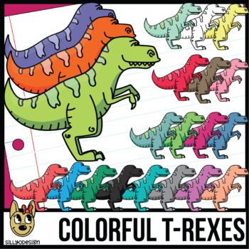 Colorful T-Rex Dinosaurs Clipart
