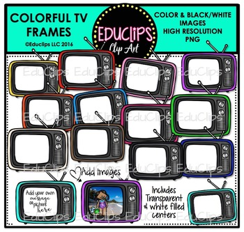 Colorful TV Frames Clip Art Bundle {Educlips Clipart}