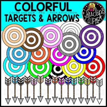 Colorful Targets & Arrows Clip Art Set {Educlips Clipart}