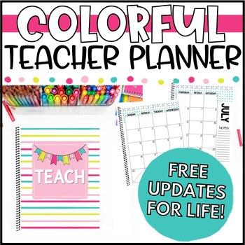 Colorful Teacher Binder, Calendar & Planner