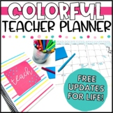 Colorful Teacher Binder, Calendar & Planner
