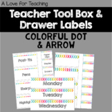 Colorful Teacher Toolbox and Drawer Labels {Editable}